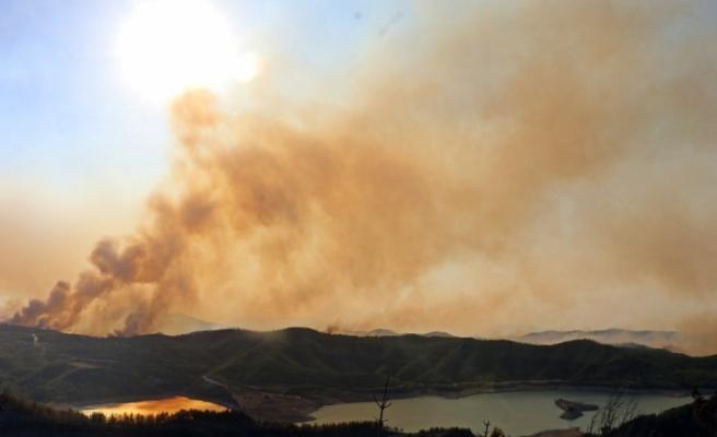 Manavgat'ta ormanlık alandaki yangına havadan ve karadan müdahale sürüyor