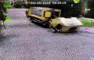 Sarıyer'de çöp kamyonu dehşetinin görüntüleri...