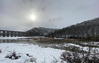 Kar yağışı sonrası Alibey Barajı doluluk oranı...