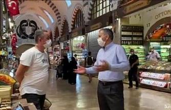 Vali Yerlikaya, Mısır Çarşısı'nda korona virüs denetimine çıktı