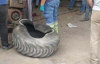 Kaynak yaparken lastik patladı, kafasına jant gelen tornacı hayatını kaybetti