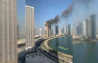 BAE'nde inşaat halindeki binada korkutan yangın