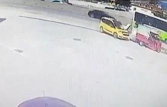 Akaryakıt istasyonundaki feci kaza kamerada