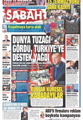 Sabah- 14.08.2018 Manşeti