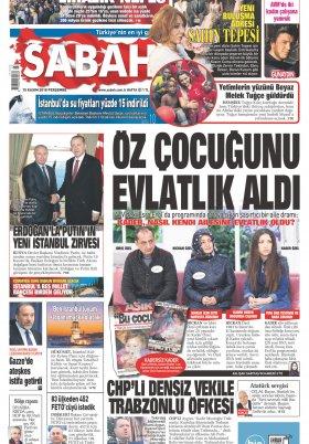 Sabah - 15.11.2018 Manşeti