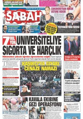 Sabah - 17.11.2018 Manşeti