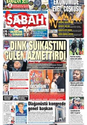 Sabah - 25.04.2017 Manşeti
