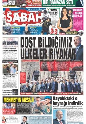 Sabah - 17.04.2018 Manşeti