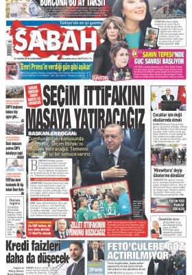 Sabah - 21.11.2018 Manşeti