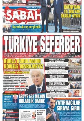 Sabah - 16.08.2018 Manşeti