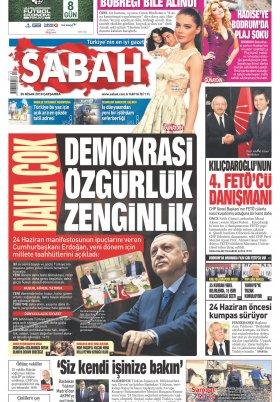 Sabah - 25.04.2018 Manşeti