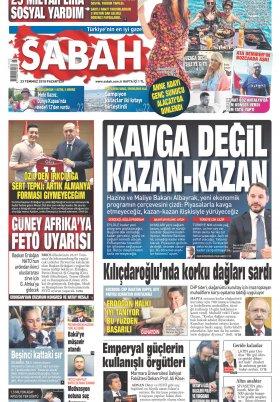 Sabah - 23.07.2018 Manşeti