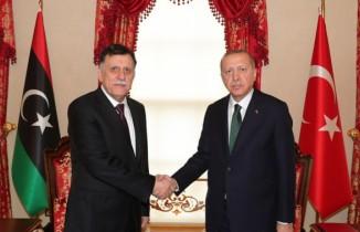 Cumhurbaşkanı Erdoğan Libya Başbakanı Es-Serrac'ı kabul ediyor