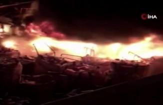 Hurdalık alan alev alev yandı