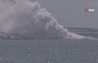 İspanya'da yanardağdan çıkan lavlar 500 metreden geniş bir kayalık oluşturdu