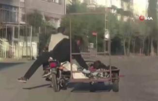 İstanbul'un göbeğinde pes dedirten yolculuk: Yatarak seyahat etti