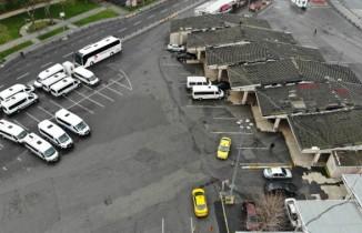 Otobüssüz kalan Harem otogarı havadan görüntülendi