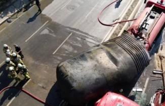 Patlayan yakıt tankı ve oluşturduğu hasar havadan görüntülendi