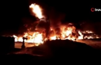 Suriye'de ham petrol taşımacılığı yapan şirkette büyük yangın