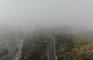 TEM'de etkili olan sis havadan görüntülendi