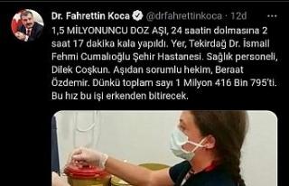 Bakan Koca, 24 saat dolmadan aşıda rekor sayıyı...