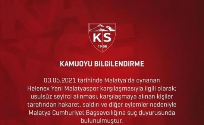 Kayserispor usulsüz seyirci için Cumhuriyet Başsavcılığına başvurdu