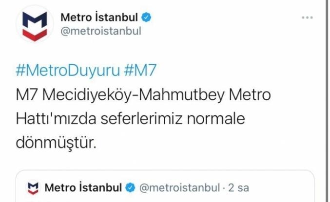 Eyüpsultan'daki metroda meydana gelen patlamanın ardından duran seferler normale döndü