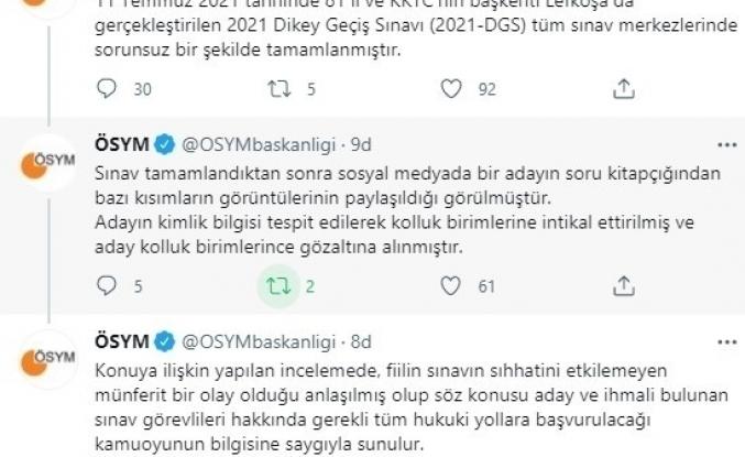 ÖSYM'den, 2021-DGS soru kitapçığının bir bölümünü sosyal medyada paylaşan aday ile ilgili açıklama